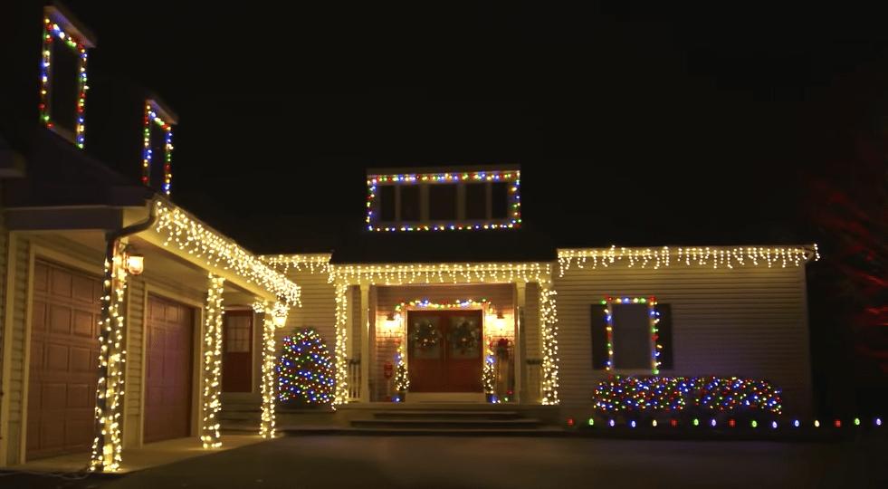 House with Solar Powered Christmas Lights on Display